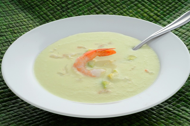 Avocado Soup Prawns