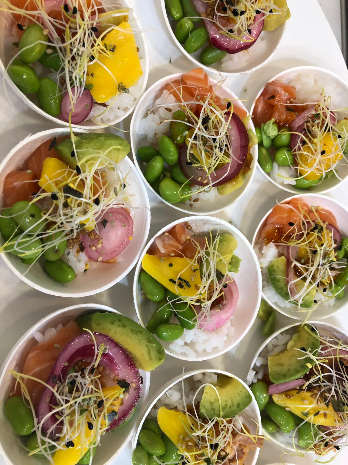 Poke bowl with avocado cubes