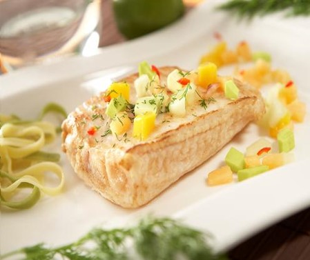 Halibut with avocado fruit salsa