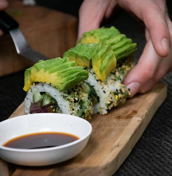 Avocado topped sushi