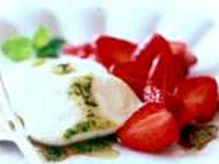 Strawberries and Fresh Mozzarella with Mint Drizzle